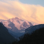 Two hours later, Jungfrau is bathed in pink as the sun sets.