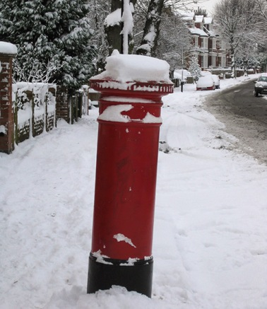 London pillar box in the snow