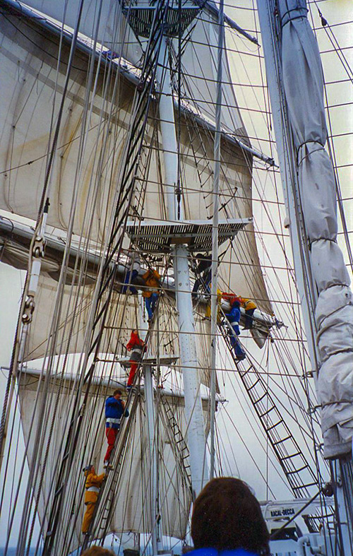 Crew climbing the rigging on 'Lord Nelson', 1995