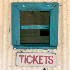 Old ticket sales window at the Pine Creek Railway Museum.